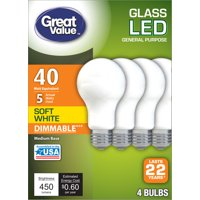 Great Value LED, 5W (40W Equivalent) Soft White Color, Frosted Bulb, 22 Year Life, E26 Medium Base, Dimmable, 4pk Light Bulbs