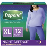 Depend Incontinence Underwear for Women, Overnight, XL, Blush, 12 Count