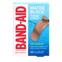 Band-Aid Brand Water Block Tough Waterproof Adhesive Bandages, All One Size, 20 ct