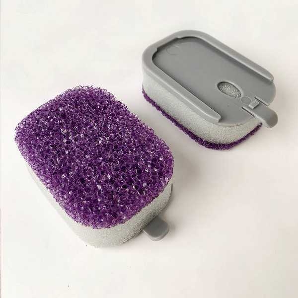 Bright Box Dishwand Scrubber Sponge Replacement Heads - Purple - 2ct
