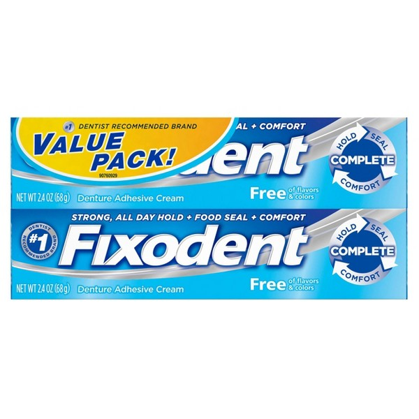Fixodent Complete Free Denture Adhesive Cream Twin Pack - 2.4oz/2pk