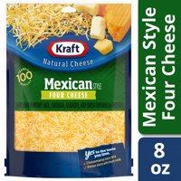 Kraft Mexican Style Four Cheese Blend Shredded Cheese, 8 oz Bag