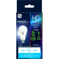 GE LED 4/7/13W (30/70/100W Equivalent) High Definition Reveal Color, A21 General Purpose 3-Way Light Bulb, Medium Base, 1pk