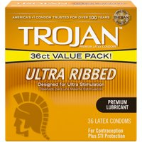 Trojan Ultra Ribbed Premium Lubricated Condoms - 36 Count