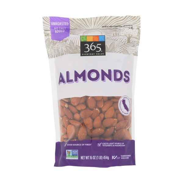 365 Everyday Value® Raw Almonds (Steam Pasteurized), 16 oz