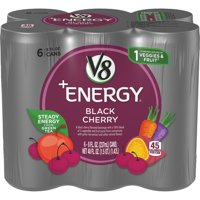 V8 +Energy, Healthy Energy Drink, Natural Energy from Tea, Black Cherry, 8 Ounce Can (Pack of 6)