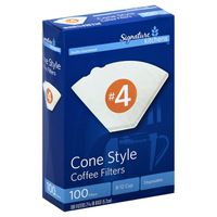Signature Kitchens Coffee Filters, No. 4 Cone Style, 8-12 Cup