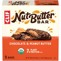 CLIF Nut Butter Bar, Organic Snack Bars, Chocolate Peanut Butter, 5 Ct, 1.76 oz (Packaging May Vary)