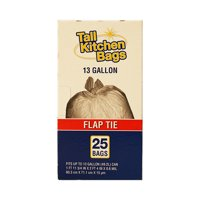 Top Job Basic Flap Tie Tall Kitchen Trash Bags, 13 gal, 25 count
