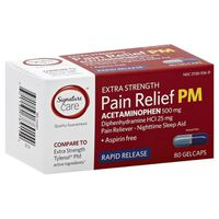 Signature Care Pain Relief PM, Rapid Release, Extra Strength, Gelcaps