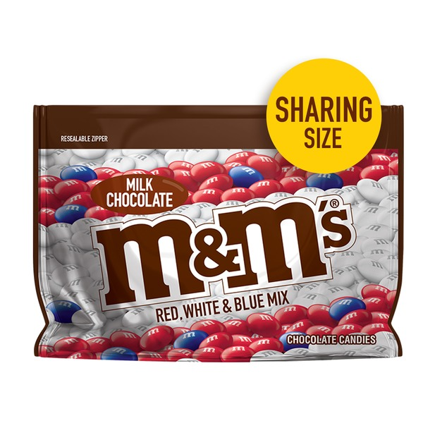 M&M's Red White & Blue Patriotic Milk Chocolate Candy Share Size