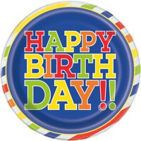 Bold Birthday Paper Plates, 9 in, 10ct