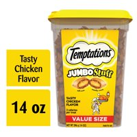 TEMPTATIONS JUMBO Stuff Cat Treats, Tasty Chicken Flavor, 14 oz. Tub