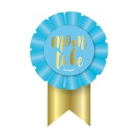Mom to Be Baby Shower Award Ribbon, 5.5 x 3 in, Blue and Gold, 1ct