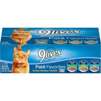 9Lives Pate Favorites Variety Pack Wet Cat Food, 5.5-Ounce Cans, 12-Count