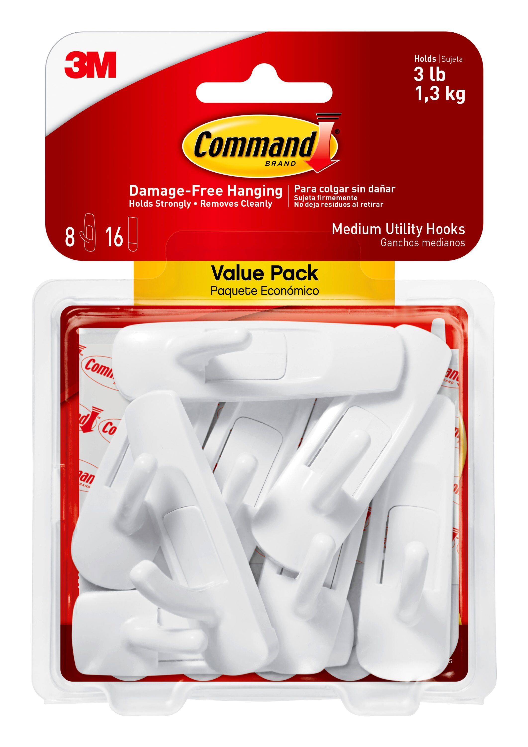 Command Utility Hooks, Medium, White, 12 Hooks, 24 Strips