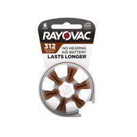 Rayovac Size 312 Hearing Aid Batteries, 6-Pack 312-6