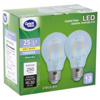 Great Value Crystal Clear LED A19 2.5 Watts Soft White Medium Base Bulbs, 2 count