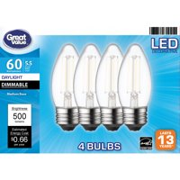 Great Value LED 5.5 Watts Decorative Daylight Medium Base Bulbs, 4 count