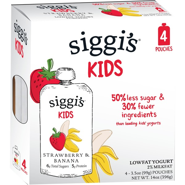 Siggi's Strawberry Banana (4 x 3.5oz) Pouch