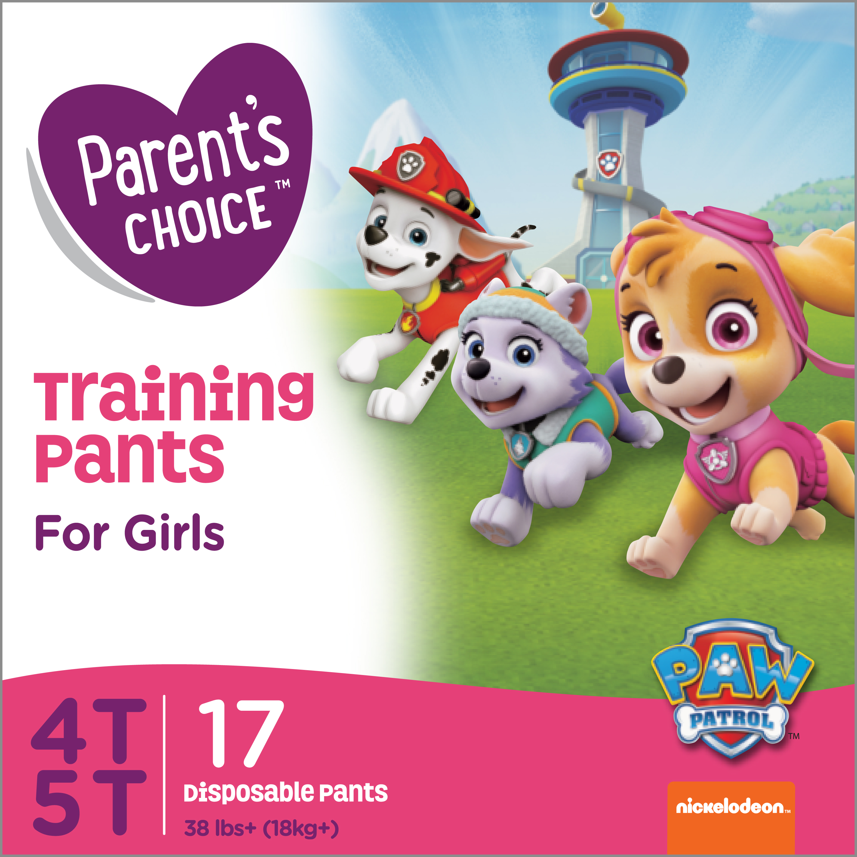 Parent's Choice Training Pants for Girls, Size 4T-5T, 17 Count