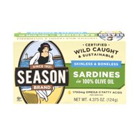Season Imported Sardines in Pure Olive Oil Skinless & Boneless Salt Added, 4.375 OZ