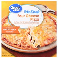 Great Value Frozen Thin Crust Four Cheese Pizza, 15.5 oz