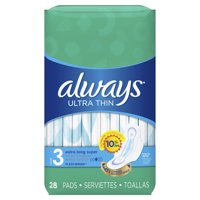 ALWAYS Ultra Thin Size 3 Extra Long Super Pads With Wings Unscented, 28 Count