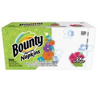 Bounty Paper Napkins, White and Print, 200 Count
