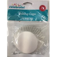 Way To Celebrate Baking Cups, White, 75 Count