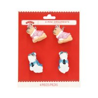 Holiday TimeMiniOrnaments, Glittery Dogs, 4 Count