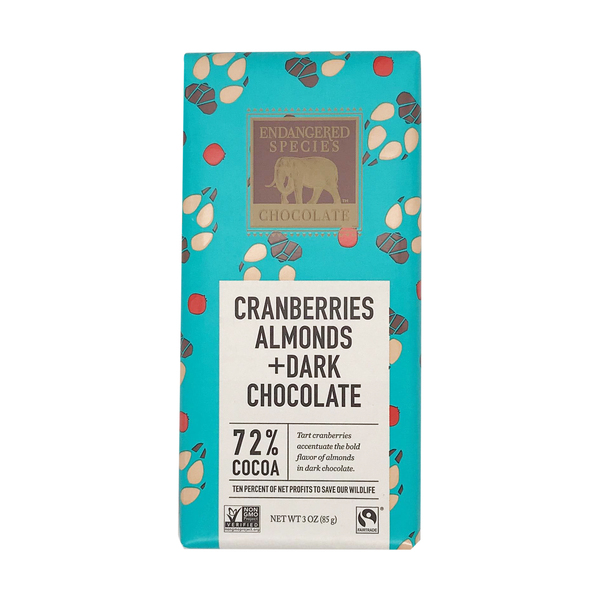 Endangered species chocolate 72% Dark Chocolate With Cranberries & Almonds, 3 oz