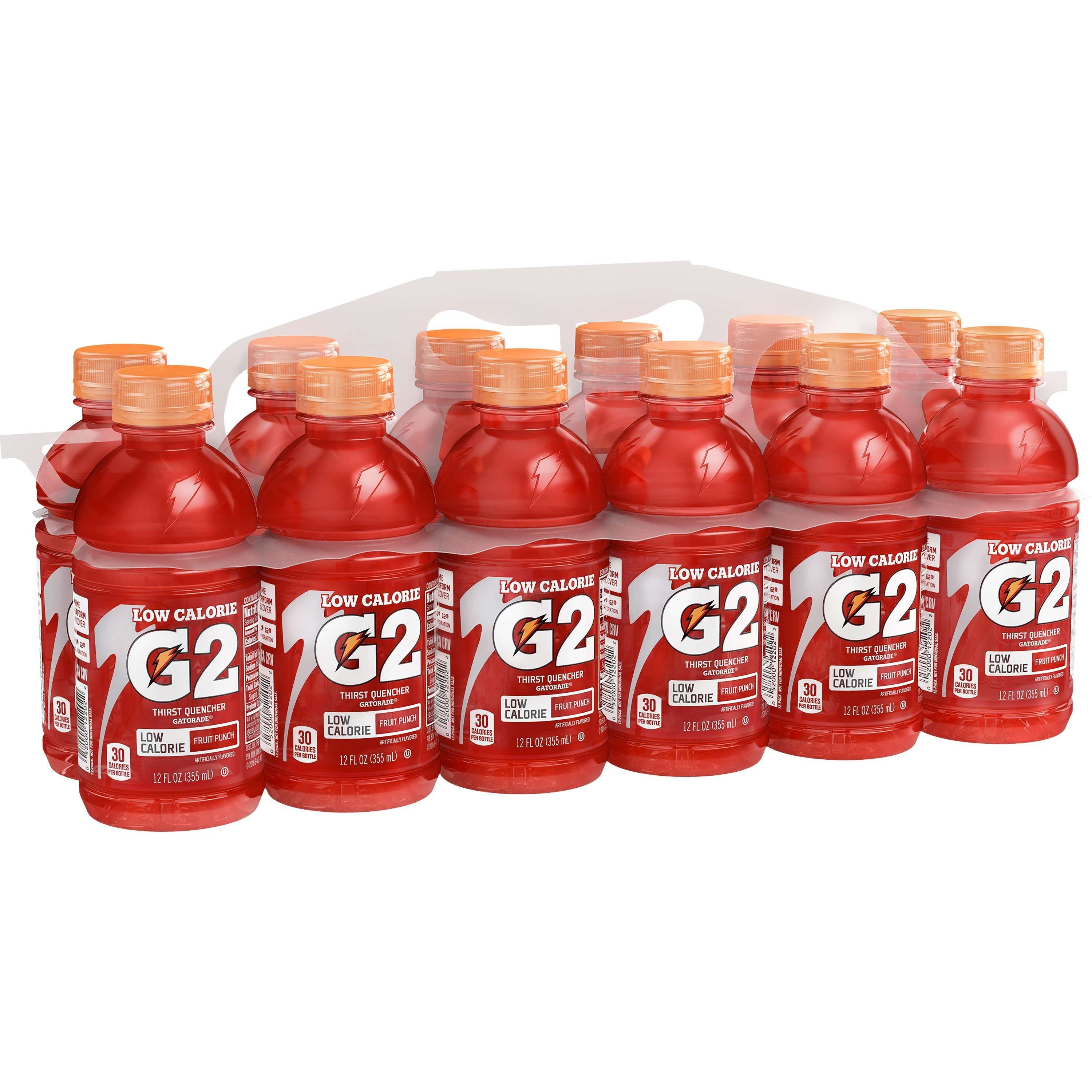 Gatorade G2 Lower Sugar Thirst Quencher, Fruit Punch, 12 Ounce Bottles (Pack of 12)