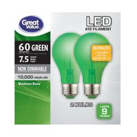Great Value LED Light Bulb, 7.5W (60W Equivalent) A19 Lamp E26 Medium Base, Non-dimmable, Green, 2-Pack