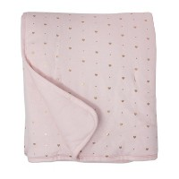 Living Textiles Baby Quilted Comforter - Metallic Hearts + Solid Pink