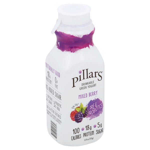 Pillars Yogurt, Greek, Drinkable, Pre & Probiotics, Mixed Berry, Bottle