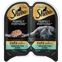 SHEBA Wet Cat Food Cuts in Gravy, Signature Tuna Entree, 2.6 oz. PERFECT PORTIONS Twin Pack Tray