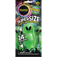 illooms Super Size Aliens Light Up Balloons, 5-Pack