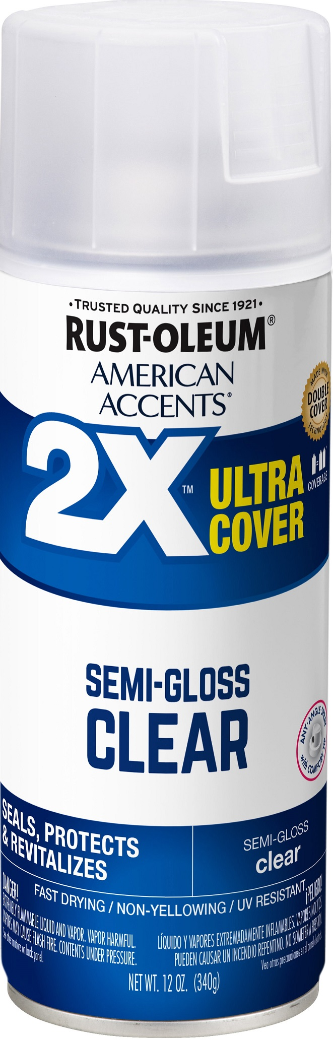 Rust-Oleum American Accents Ultra Cover 2X Semi-Gloss Clear Spray Paint and Primer in 1, 12 oz