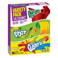 Fruit Roll-Ups Fruit By The Foot Fruit Gushers Variety Pack 16 Pouches