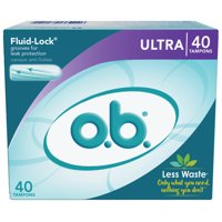 o.b. Original Applicator-Free Tampons, Unscented, Ultra, 40 Ct