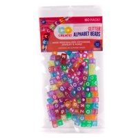 Kids Craft Alphabet Cube Glitter Beads