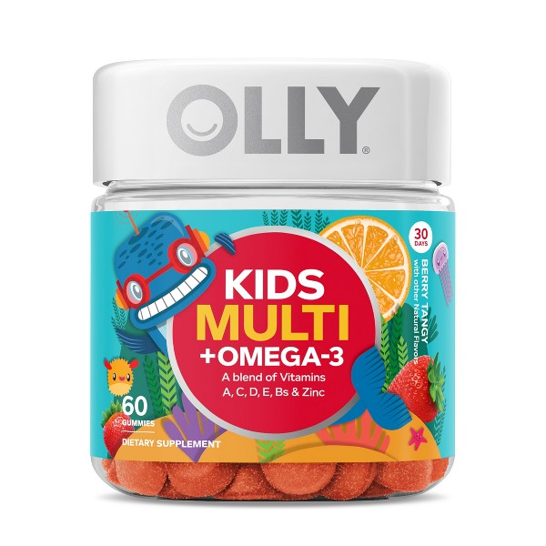 Olly Kids Multivitamins Omega-3 Dietary Supplement Gummies - Berry Tangy - 60ct