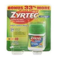 Zyrtec Allergy 10mg Tablets - 40 CT