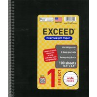 Exceed 1 Subject 100 Sheets Notebook, Wide Ruled, 10.5
