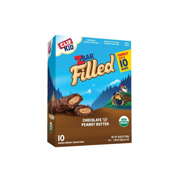 CLIF Kid ZBAR Filled Chocolate filled with Peanut Butter Snack Bars - 10ct