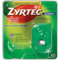 Zyrtec Indoor & Outdoor Allergies, Original Prescription Strength, 10 mg, Tablets