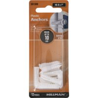 """Hillman White Ribbed Plastic Anchors (#6-8 x 1"""") - 12 Pieces"""