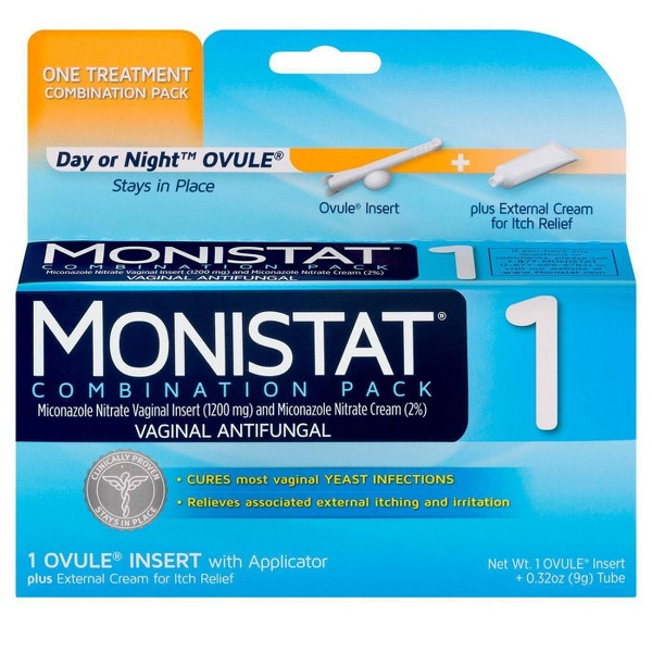 Monistat 1-Day Yeast Infection Treatment, Day or Night Ovule Insert, Itch Cream, Combination Pack