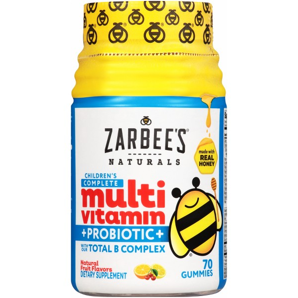 Zarbee's Naturals Children's Complete Multivitamin + Probiotic Gummies - Natural Fruit Flavor - 70ct